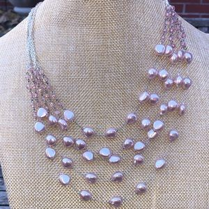 Pastel Pink Multi-Strand Beaded Pearl Necklace